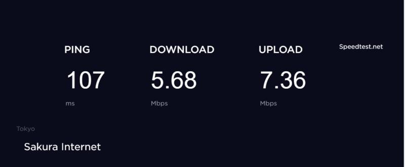自作VPNサーバの速度を測定した結果(VPN接続)
